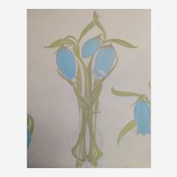 Botanical Blue Flower Gouache and Pencil Painting, Art Nouveau Style 1900