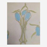Botanical Blue Flower Gouache and Pencil Painting, Art Nouveau Style 1900