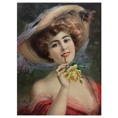 1900 - Fashion Girl from French Belle Epoque Chromolithogaph Print, Art Nouveau Style