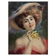 Fashion Girl from French Belle Epoque Chromolithogaph Print, 1900 Art Nouveau