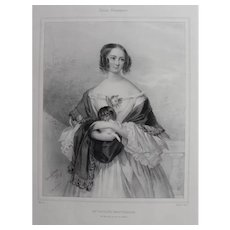 19th -  Female Portrait holding a Dachshund Dog Lithograph Print, engraved by Fanny Corbeau