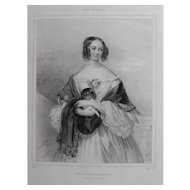 Female Portrait of a Woman with Dachshund Dog, 19th Century Lithograph Print