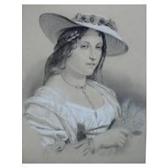 Antique French Female Portrait Drawing of a Woman in a Hat, 19th Century Signed