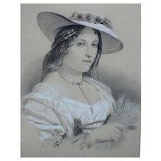 19th -  Female Portrait Drawing representing a Woman in a Hat, Signed by French Artist