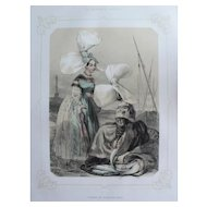French Women in Traditional Normandy Dress, 19th C. Antique Colored Lithograph
