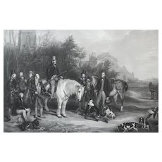 19th - Hunting Scene in English Rural Landscape, Large Etching engraved after English Antique oil Painting by William Henry Simmons