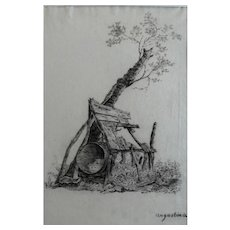 19th - Old Wooden Abondonned Cabin in the Woods Charcoal Drawing, Signed and French Origin