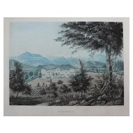 Switzerland Landscape of Zurich and Mountain of Swiss Alps, 19th Century Aquantint Engraving