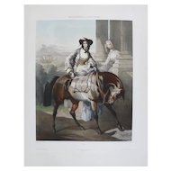 1854 Horse Colored Lithograph Print, after French Antique oil Painting by Dedreux