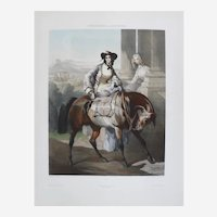 Woman Riding a Horse Antique Lithograph, 19th C. French print after painting by Dedreux