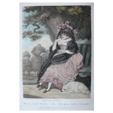 18th Century - Fashion Female Portrait of a Beautiful Girl in an Excentric Dress, Antique Engraving by English Artist