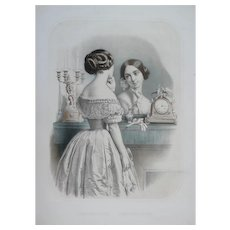 19th - Female Fashion Portrait of a Parisian Girl looking in the Mirror, Victorian Style Watercolor Lithograph by French Artist
