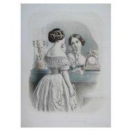 Female Portrait of a Fashion Parisian Girl, 19th Victorian Style Watercolor Lithograph