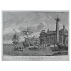 Seascape View of Rome City Landscape, 18th Etching of Ships leaving Harbour, after Italian painting by Sorck