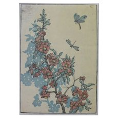19th - Japanese Style Engraved Wood, Floral Botanical Print by American Artist Andrew Kay Womrath