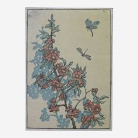 Japanese Style Botanical Print by American Artist Andrew Kay Womrath, 19th Century