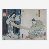 Antique Japanese Engraving of Toyokuni III of Two Characters in Traditional Japanese Dresses, 19th C