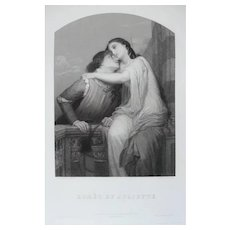 19th - Romeo and Juliet Antique Engraving, Romantic Scene after an French Antique oil Painting by Jalabert