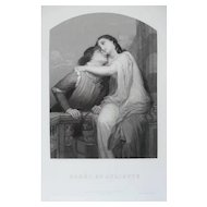 Romeo and Juliet Antique Etching, 19th Century Print of a Romantic Scene after painting by Jalabert