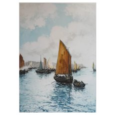 19th - Seascape representing a Sailboat leaving Harbour, French Engraving signed by Laffite