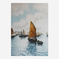 Antique Seascape Etching of a Sailboat leaving Harbour, French Print signed by Laffite
