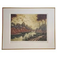1930 Forest Landscape Vintage French Etching of a Lake River and Trees