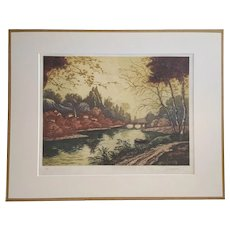 Forest Landscape French Etching, 1930