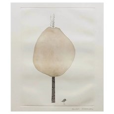 Mid Century Abstract French Etching Print of a Tree and a Bird, signed by French Artist Dielleman