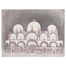 Mid Century Abstract French Etching Print of Venise Palace in Italy, Modern Art signed by French Artist Dielleman