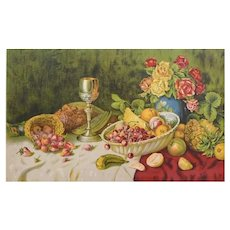 1930s - Still Life Fruit Table Print, Chromolithograph after antique oil painting by Willy Hanft