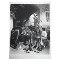 19th - Black and White Horses in a Village Engraving, after English antique oil painting by John Frederick Herring