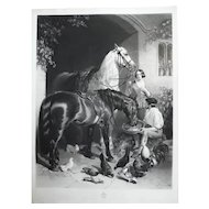 Antique Etching of Two Horses in old Village, 19th C. after English painting by John Frederick Herring