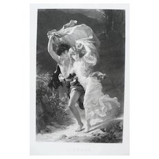 19th - Romantic Couple Running during Storm, Large French Antique Engraving after oil Painting from Metropolitan Museum
