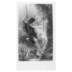 Large Antique Etching of a Romantic Couple on a Swing, Neoclassical Style Print after painting from Metropolitan Museum