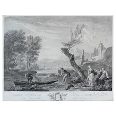 18th Century - Seascape View of a Small Boat on a River, French Engraving after antique oil painting by Joseph Vernet