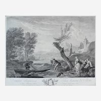 Seascape View of a Small Boat on a River, 18th Century French Engraving after painting by Joseph Vernet