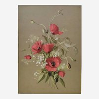 French Botanical Chromolithograph Print of Red Poppie Flowers, 1920