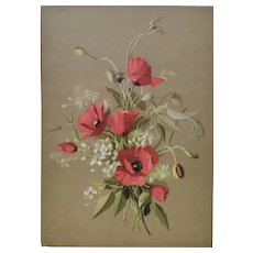1920 - French Botanical Chromolithograph Print of Red Poppie Flowers