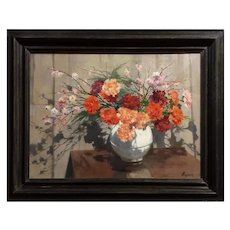 Flower Vase Antique Painting -  Oil On Canvas - Still Life French Painting Signed by Roblin