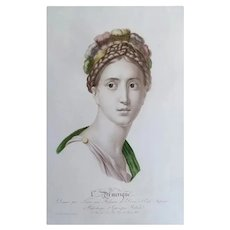 Female Portrait Entitled America - French Antique Watercolor Etching - 19th Century