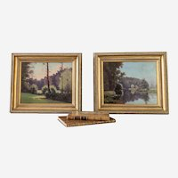 Landscape Oil Paintings - Mid Century Framed French Paintings Signed by Stephane Ravier - Forest and Lake Landscape