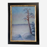 Winter Landscape Swedish Oil Painting, Frozen Lake and Forest, Dated 1919