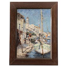 Mediterranean Port - Seascape Antique Oil on Canvas - French Marine Painting