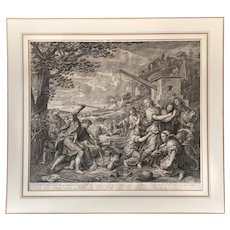 17th Century Religious Engraving Print - Jethro's daughters Biblical Subject - after French Painting By Charles Le Brun