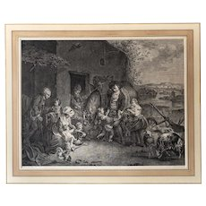 18th Century Etching - English Country Genra Scene - after Historical Painting by Charles Benazech