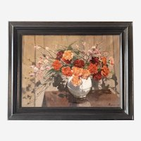 Flower Bouquet in a Vase Antique Painting - Still Life Oil On Canvas -  French Painter Roblin