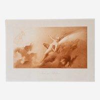 Luis Falero 19th Century Engraving - Portrait of Nude Nymph Iris - Greek Mythology and Fantasy Theme