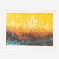 Vintage Colorful Abstract Art Print - Mid Century Modern Aquatint - 1960s French Art