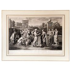 18th century Original Engraving - Rare Antique Etching after Religious Old Master Painting by Nicolas Poussin