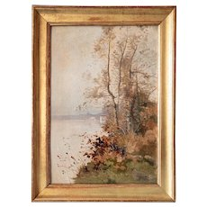 French Country Autumn Landscape - Antique Oil Painting 19th-century - Forest by the Lakeside - Framed and Signed